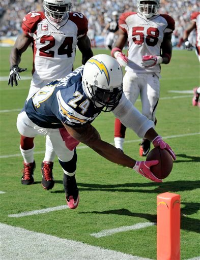 San Diego Chargers  running back Ryan Mathews scores against the Arizona Cardinals during the second half of an NFL football game Sunday, Oct. 3, 2010, in San Diego. (AP Photo/Denis Poroy)