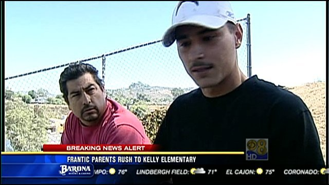 Carlos Parotid (front) and his fellow construction worker, Mario Contreras, detained the shooting suspect.