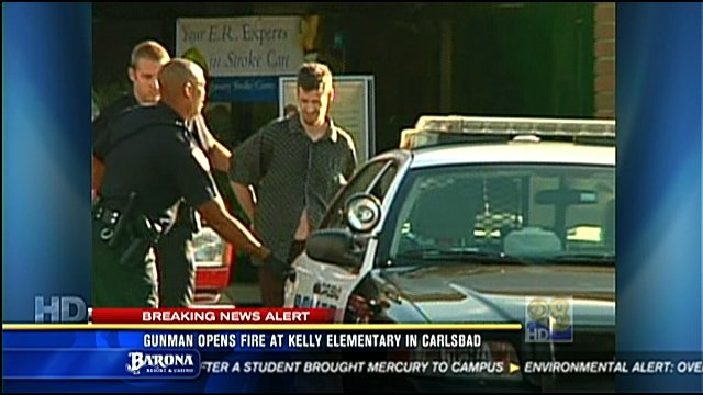 An unidentified suspect was taken into custody Friday after walking onto the campus of Kelly Elementary School in Carlsbad and opening fire.