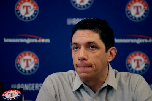Texas Rangers general manager Jon Daniels talks to the media during a news conference at spring training baseball practice Thursday, Feb. 16, 2017, in Surprise, Ariz.