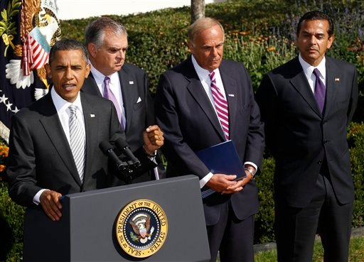 President Barack Obama speaks to reporters in the Rose Garden to highlight a new report on the impact of his $50 billion infrastructure-investment proposal, Monday, Oct. 11, 2010 at the White House. (AP Photo/Pablo Martinez Monsivais)
