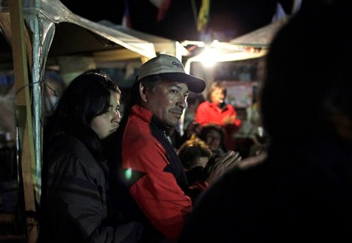 Alberto Segovia, brother of trapped miner Dario Segovia, and his daughter Carla Belgica, stand at the relatives camp outside the San Jose mine, near Copiapo, Chile, Monday, Oct. 11, 2010. (AP Photo/Jorge Saenz)