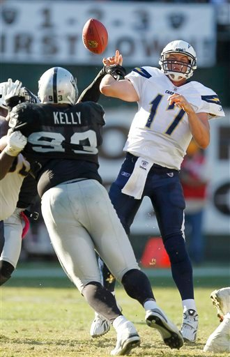 Philip Rivers (17) fumbles the ball, forced by Oakland Raiders safety Michael Huff, not pictured, which Raiders safety Tyvon Branch returned for a 64-yard touchdown in the fourth quarter. (AP Photo/Tony Avelar)