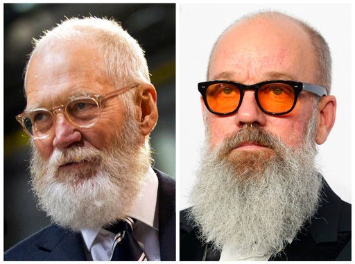 These 2016 file photos show former late night talk show host David Letterman and musician Michael Stipe.