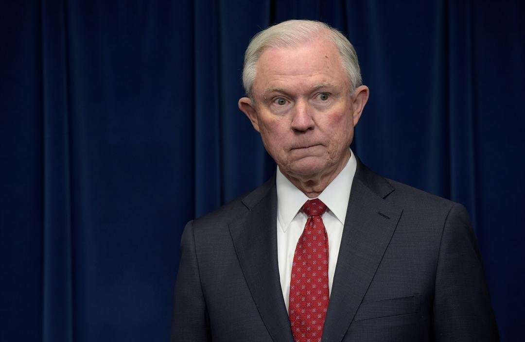Attorney General Jeff Sessions waits to make a statement on issues related to visas and travel, Monday, March 6, 2017, at the U.S. Customs and Border Protection office in Washington. (AP Photo/Susan Walsh)