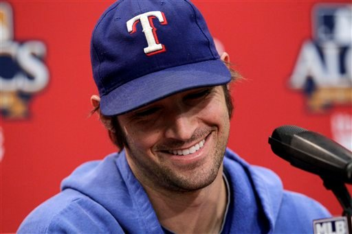 Texas Rangers starting pitcher C.J. Wilson speaks during a news conference Thursday, Oct. 14, 2010, in Arlington, Texas. The Rangers will play the New York Yankees in Game 1 of the American League Championship Series of baseball Friday. (AP Photo).