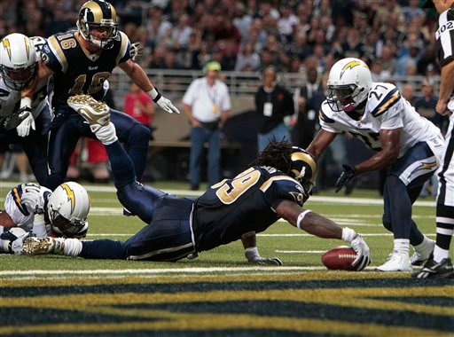 St. Louis Rams running back Steven Jackson (39) scores a touchdown against San Diego Chargers free safety Paul Oliver (27) during the the second quarter. (AP Photo/Jeff Roberson)