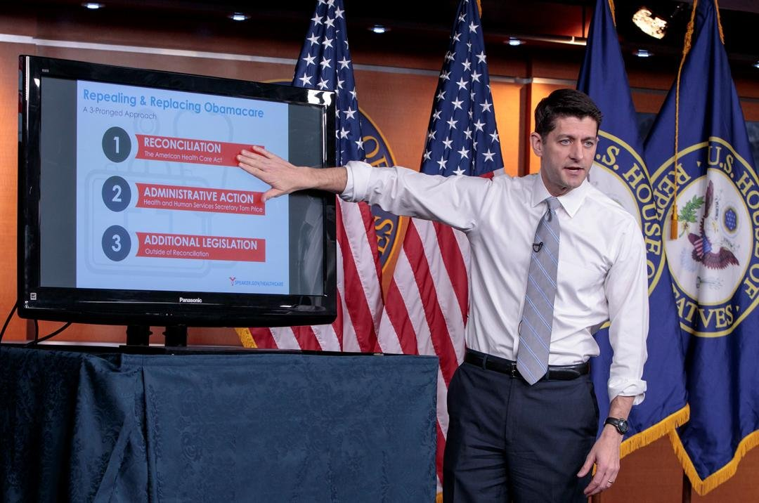 House Speaker Paul Ryan of Wis. uses charts and graphs to make his case for the GOP's long-awaited plan to repeal and replace the Affordable Care Act March 9, 2017, during a news conference on Capitol Hill. (AP Photo/J. Scott Applewhite)