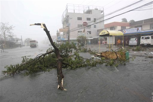 "A tree branch lies in the middle of the highway at the onslaught of typhoon Megi (local name ""Juan"") Monday Oct.18, 2010 at Cauayan, Isabela province in northeastern Philippines. (AP Photo/Bullit Marquez)"