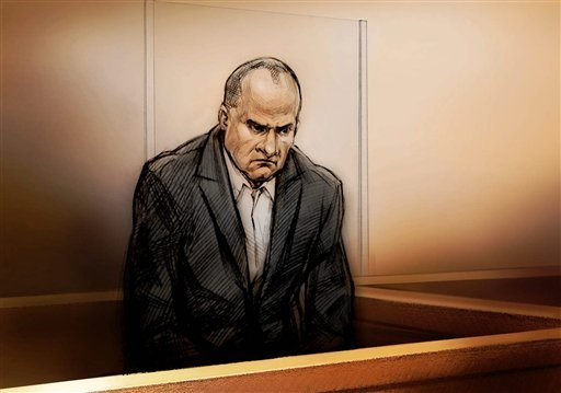 Col. Russell Williams is shown in a sketch during a court appearance in Belleville, Ont., Thursday, Oct. 7, 2010. (AP Photo/The Canadian Press, Alex Tavshunsky)