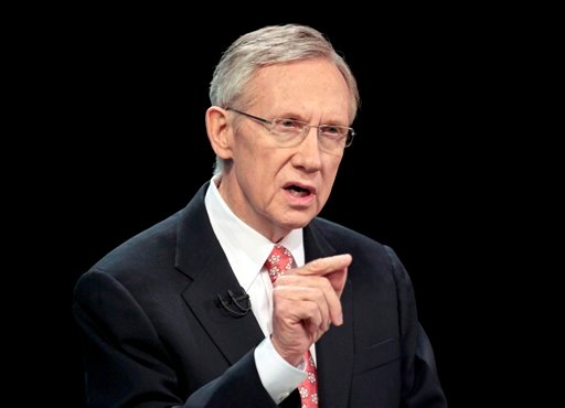 In this Oct. 14, 2010 file photo, Senate Majority Leader Harry Reid of Nev. speaks during a televised Nevada Senate debate, in Las Vegas.  (AP Photo/Julie Jacobson, File)