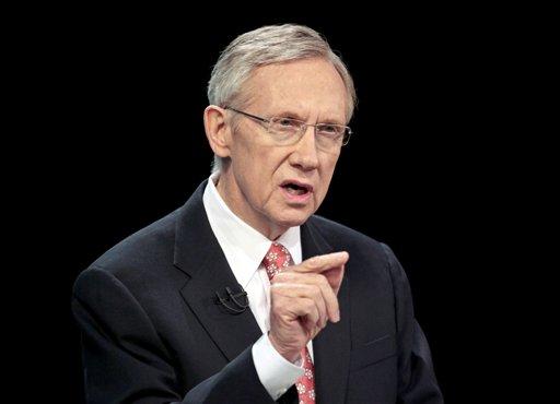 In this Oct. 14, 2010 file photo, Senate Majority Leader Harry Reid of Nev. speaks during a televised Nevada Senate debate, in Las Vegas.  (AP Photo/Julie Jacobson, File)