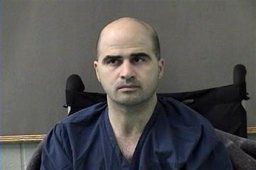 U.S. Maj. Nidal Hasan at the San Antonio to Bell County Jail in Belton, Texas, after his Nov. 5 shooting spree at Fort Hood. (AP Photo/Bell County Sheriffs Department, File)