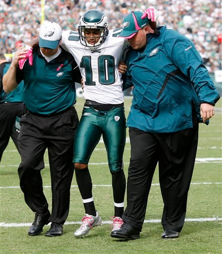 Philadelphia Eagles wide receiver DeSean Jackson (10) is helped off the field after an injury during the first half of an NFL football game against the Atlanta Falcons, Sunday, Oct. 17, 2010, in Philadelphia.