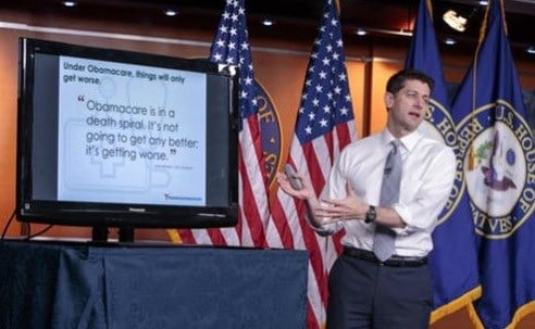 House Speaker Paul Ryan of Wis. uses charts and graphs to make his case for the GOP's long-awaited plan to repeal and replace the Affordable Care Act.