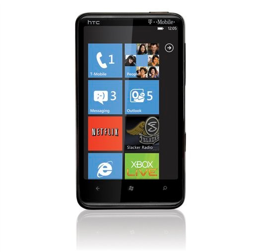 This product image provided by T-Mobile, shows the HTC HD7 smart phone that runs Windows Phone 7. It's the company's most consumer-friendly phone software to date and has lots of snazzy features. (AP Photo/T-Mobile)