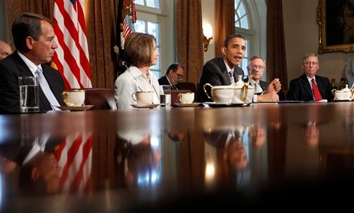 President Barack Obama makes addresses reporters in the White House Cabinet Room in Washington after meeting with Congressional leaders.