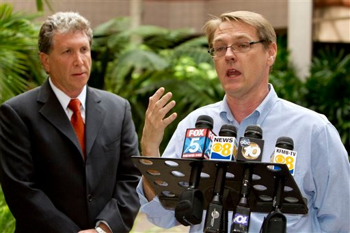 SNAP National Director David Clohessy, right, and attorney Irwin Zalkin speak with members of the media during a news conference Sunday, Oct. 24, 2010, in San Diego.