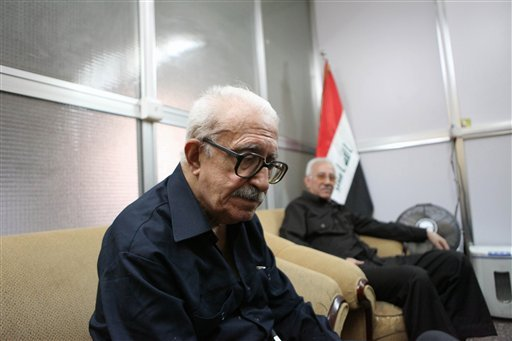 In this Sunday, Sept. 5, 2010 photo, Tariq Aziz, former Iraqi foreign minister and deputy prime minister speaks to the Associated Press in Baghdad, Iraq. (AP Photo/Hadi Mizban)