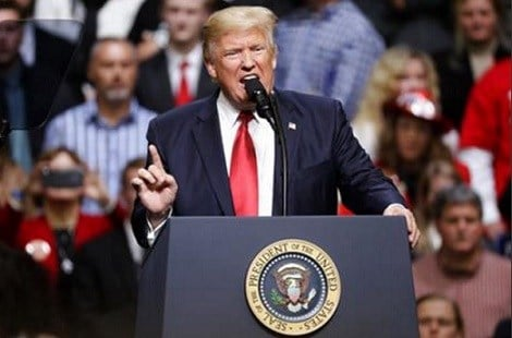 President Donald Trump speaks at a rally Wednesday, March 15, 2017