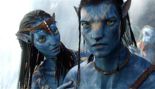 "In this film publicity image released by 20th Century Fox, the character Neytiri, voiced by Zoe Saldana, and the character Jake, voiced by Sam Worthington are shown in a scene from, ""Avatar."" (AP Photo/20th Century Fox)"