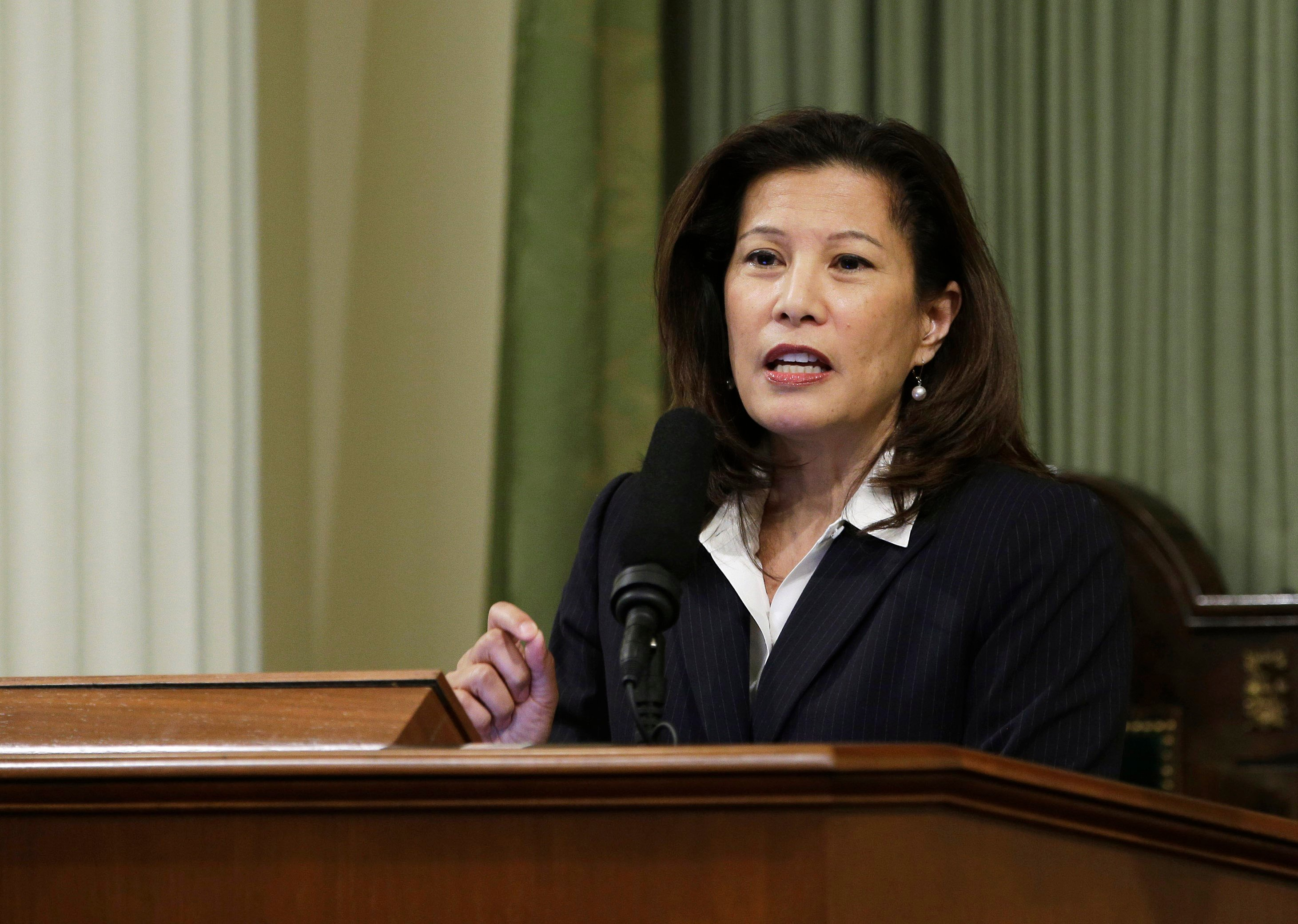File - In this March 23, 2015, file photo, California Supreme Court Chief Justice Tani G. Cantil-Sakauye delivers her annual State of the Judiciary address before a joint session of the Legislature at the Capitol in Sacramento, Calif. (AP Photo/Rich Pedro