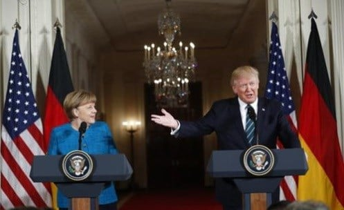 President Donald Trump and German Chancellor Angela Merkel participate in a joint news conference.