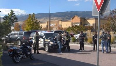 Police set up a command center outside the Fire creek Crossing Walmart in south Reno after reports of multiple shootings inside the store on Friday, Oct. 29, 2010.
