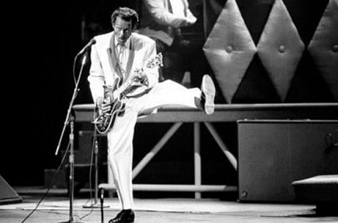 Chuck Berry performs during a concert celebration for his 60th birthday at the Fox Theatre in St. Louis, Mo.