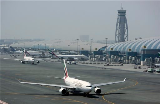 An Emirates airline passenger jet taxis on the tarmac at Dubai International airport in Dubai, United Arab Emirates, in this Tuesday April 20, 2010 file photo. (AP Photo/Kamran Jebreili)