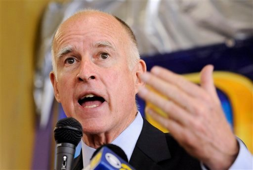 In this Oct. 24, 2010 file photo, California Democratic gubernatorial candidate, Attorney General Jerry Brown speaks in the Van Nuys area of Los Angeles. (AP Photo/Gus Ruelas, File)