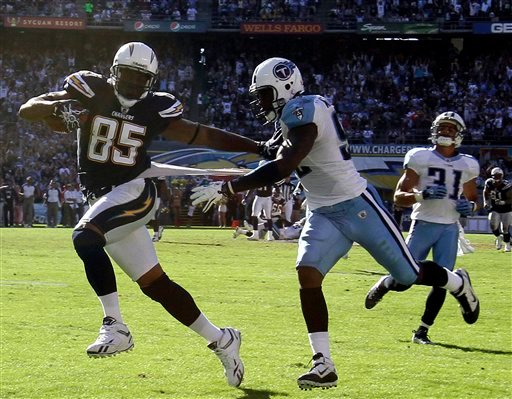 San Diego Chargers tight end Antonio Gates breaks free from Tennessee Titans linebacker Will Witherspoon for a 48 yard touchdown reception in the Chargers' 33-25 victory in an NFL football game Sunday, Oct. 31, 2010, in San Diego. (AP Photo/Gregory Bull)
