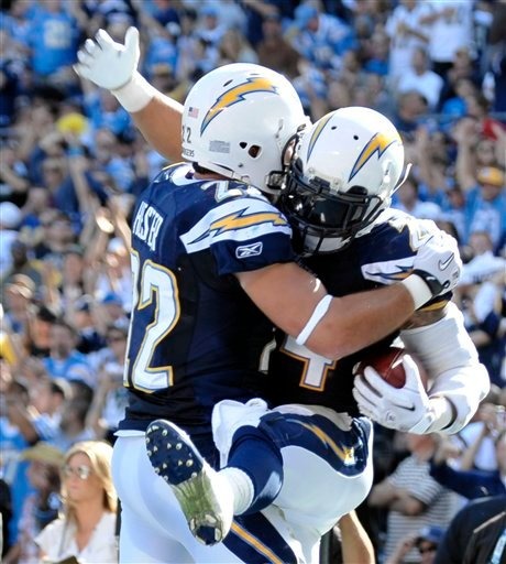 San Diego Chargers running back Ryan Mathews, right, celebrates with teammate Jacob Hester after making a seven-yard touchdown-run against the Tennessee Titans, Sunday, Oct. 31, 2010, in San Diego. (AP Photo/Denis Poroy)
