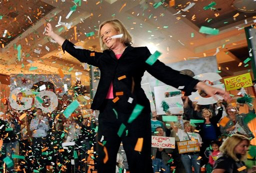 Republican gubernatorial candidate Meg Whitman waves to supporters during a campaign stop, Sunday, Oct. 31, 2010, in Burbank, Calif. (AP Photo/Mark J. Terrill)