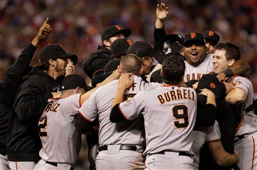 San Francisco Giants' celebrate after winning baseball's World Series against the Texas Rangers Monday, Nov. 1, 2010, in Arlington, Texas. The Giants won 3-1 to capture the World Series. (AP Photo/David J. Phillip)