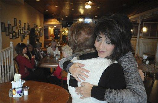 South Dakota Republican Congressional candidate Kristi Noem hugs Judy Gulbraa after voting Tuesday Nov. 2, 2010 in Hazel, S.D. Noem is running against Democratic incumbent U.S. Rep. Stephanie Herseth Sandlin, D-S.D. (AP Photo/Dave Weaver)