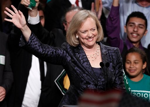Republican gubernatorial candidate Meg Whitman arrives for an election night party in Los Angeles, Tuesday, Nov. 2, 2010. Whitman was defeated by Democrat Jerry Brown. (AP Photo/Chris Carlson)