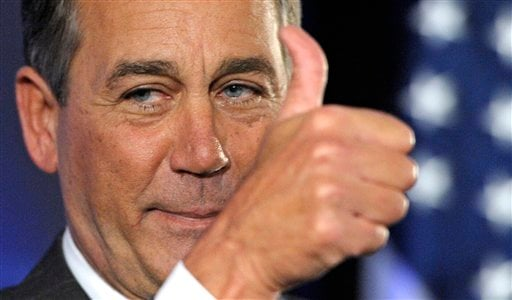House Republican leader John Boehner of Ohio celebrates the GOP's victory that changes the balance of power in Congress