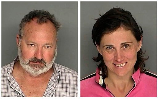 FILE - In these Sept. 18, 2010 file images originally provided by the Santa Barbara County Sheriff's Office, actor Randy Quaid and his wife Evi Quaid, are shown after their Saturday Sept. 18, 2010 arrest on charges of felony residential burglary.