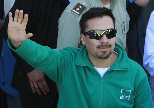 In this photo taken Oct. 13, 2010, rescued miner Edison Pena arrives at the hospital in Copiapo, Chile.
