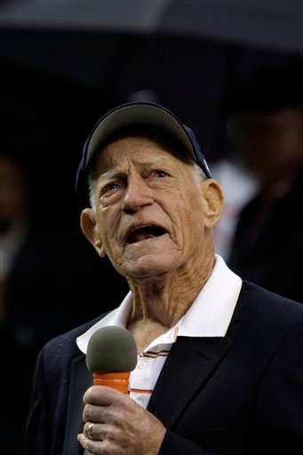 This Sept. 28, 2009, file photo shows Sparky Anderson, manager of the 1984 Detroit Tigers world championship team, speaking during a celebration of their 25th anniversary prior to the Detroit Tigers-Minnesota Twins Major League Baseball game in Detroit.