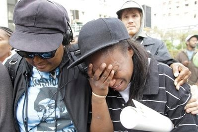 Kim Webber, right, looks emotional after hearing the sentencing of former Bay Area Rapid Transit police officer Johannes Mehserle in Oakland, Calif., Friday, Nov. 5, 2010.