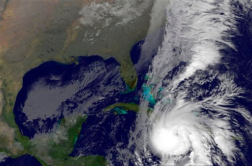 This image provided by NASA taken early Friday morning Nov. 5, 2010 shows Hurricane Tomas approximately 175 miles west of Port-au-Prince, Haiti, and moving northeast near 9 mph. (AP Photo/NASA)