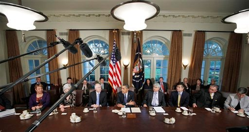 President Barack Obama makes a statement to reporters after meeting with his staff and Cabinet members in the Cabinet Room of the White House in Washington, Thursday, Nov. 4, 2010.