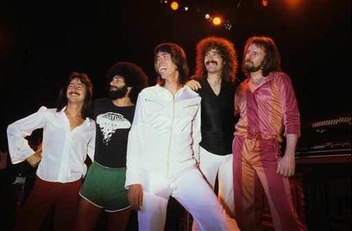 Boston - Barry Goudreau, Sib Hashian, Tom Scholz, Brad Delp and Fran Sheehan Boston in concert at the Rainbow Theatre, London, Britain - Oct 1979 (Rex Features via AP Images)
