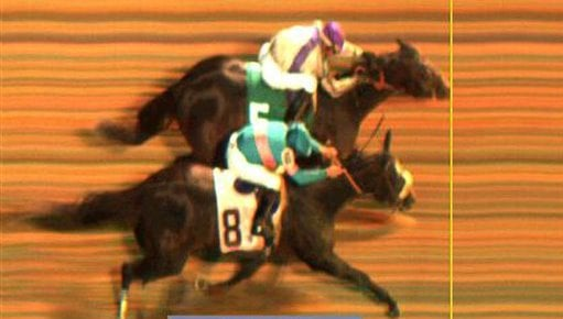 This image provided by Churchill Downs shows Garrett Gomez riding Blame, rear, beating Mike Smith riding Zenyatta (8) during the Classic race at the Breeder's Cup horse races at Churchill Downs Saturday, Nov. 6, 2010, in Louisville, Ky. (AP Photo)