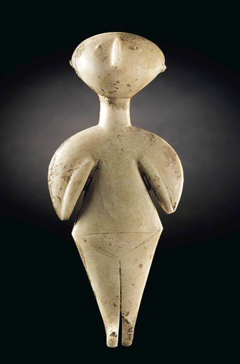In this photo provided by Christie's is the 9-inch-tall marble sculpture, called the Guennol Stargazer.