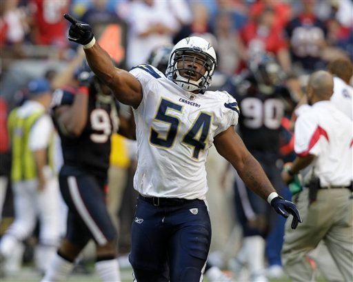 San Diego Chargers' Stephen Cooper (54) celebrates after stopping a final Houston Texans drive in the fourth quarter of an NFL football game Sunday, Nov. 7, 2010 in Houston. The Chargers won 29-23. (AP Photo/Eric Gay)
