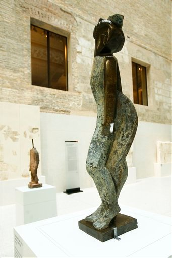 The sculpture 'Dancer' by German artist Marg Moll is seen during a press preview of so called 'degenerate' art in Berlin on Monday, Nov. 8, 2010.