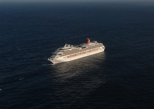 This photo released by the U.S. Navy shows the Carnival Splendor, a cruise ship stranded about 250 miles off the coast of California on Tuesday, Nov. 9, 2010.